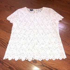TALBOTS PETITES off white lace top